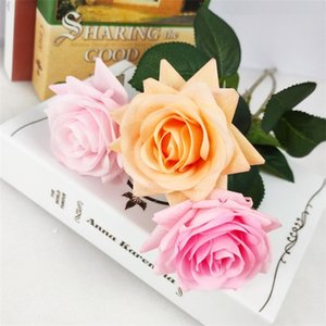 Über Leim Hand fühlen feuchtigkeitsspendend Rose Curling Rose Day Bouquet Einzel Simulation Blume Partei Valentine Supplies T9I00360