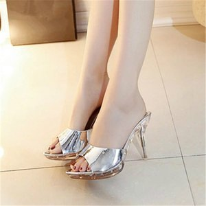 The new fashion in the summer of 2019 versatile high-heeled slippers for women stiletto heels leather heels open-toe sandals for women
