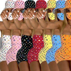 Mulheres Designer Mini Vestidos + chapéu + Máscara 3pcs Define Máscara Roupas S-2XL verão bonito vestidos + Cap + Cara Suit Sexy Sportswear DHL gratuito 3165