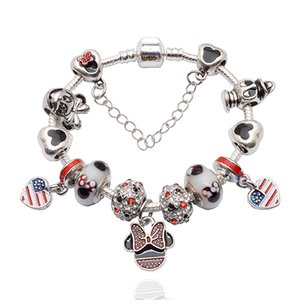 Fashion luxury designer bow cartoon diy diamond crystal European beads charms bracelet for woman girls Christmas gift