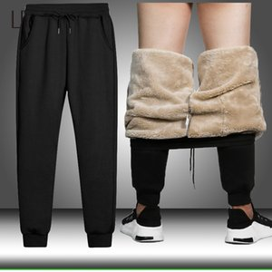 Cintura elástica Heavyweight Calças Outono Inverno lã quente Pants Mens grosso de lã calças masculinas Masculino Casual Thicken Sweatpants