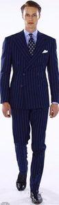 Excellent Style Groom Tuxedos Double Breasted Blue Stripe Peak Lapel Groomsmen Best Man Suit Mens Wedding Suits (Jacket+Pants+Tie) XF236