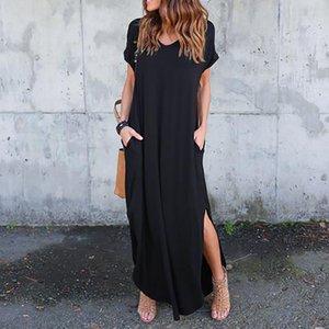 Женская Дизайнерская Split V шеи платья с коротким рукавом Повседневная Сыпучие Pure Color платье Мода Женщины одежда