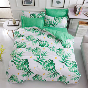 200*230cm sheet Green Leaf Home Textile Printed Bedding Set Bed Cover Bed SheetBoy Girl Kid Teen Duvet Cover Pillowcase Bed Linen Bedclothes
