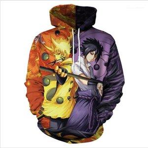 Desen Baskı Erkek Cep Kapüşonlular Moda Unisex Casual Kapşonlu Sweatshirt Tasarımcı Naruto Mens Kapüşonlular 3D Anime