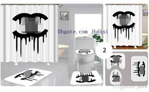 Cortinas de impressão europeus para sala de estar Padrão Banho Luxo Cego cortinas da janela cortinas de chuveiro Cortina impresso Tapete 3PCS Suit fc02