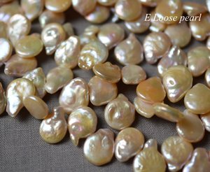 Coin pearl 13-13.5mm Freshwater pearls Top drilled Coin pearl wholesale pearl loose pearls necklace Natural Pink 35pcs Full Strand PL4399