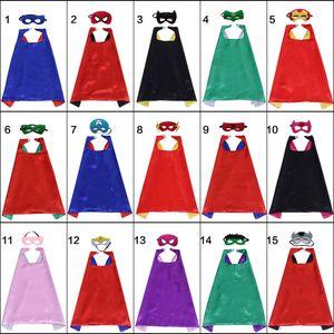 Nuovi disegni Double Side Supereroe Cape 70 * 70cm Mantello del fumetto con maschera per bambini Natale Halloween Cosplay Cape Stage Performance