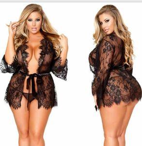 Dentelle femmes sexy Designer Pyjama Perspective Plus Size Pour 9XL Femme Sous-vêtements Femme Vêtements