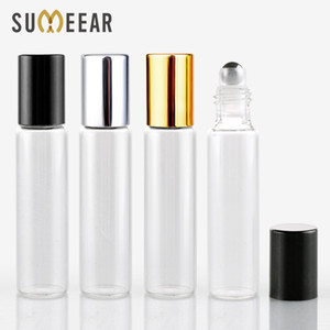 10ML Mini Glass With Steel Ball Bottle Perfume Bottles With Roll On Empty Cosmetic Essential Oil For Travel 100Pieces/Lot