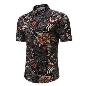 Shirts été nouveau style hommes Vêtements imprimé floral Mens Designer T-shirts à la mode collier vers le bas tour à manches courtes Slim