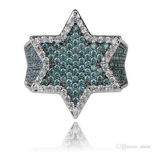 New Iced Out Full Cubic Zircon Franklin Mint Green Gemstone Men's Hexagonal Star Gold Ring Hiphop Jewelry Gift