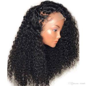 Brésilien dentelle perruque avec bébé cheveux longs bouclés Vierge brésilienne 13x4 profonde Partie sans colle avant de dentelle Curly perruques de cheveux humains Ends complet