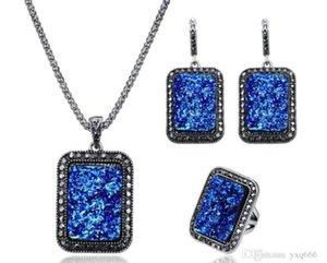 estilo Hot moda brincos colar preto de resina pedra retangular anel conjunto de três atacado