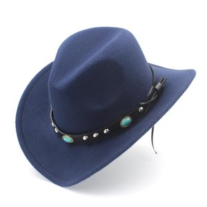 Women Men Wool Hollow Western Cowboy Hat Roll-up Wide Brim Felt Cowgirl Jazz Godfather Sombrero Cap Size 56-58CM Punk Leather