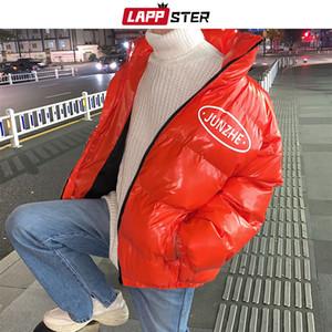 LAPPSTER japonês Streetwear jaqueta de inverno 2019 Mens Glossy Hip Hop bolha Parkas Brasão Oversized coreana Quente Red Casacos Casacos