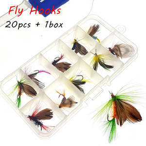 20pcs 1box Simulation Butterfly Fly Hook High Carbon Steel Fishing Hooks SF_7
