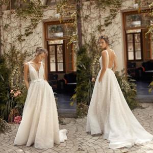 Lihi 호드 웨딩 드레스 2020 A 라인 스윕 기차 깊은 V 넥 비치 웨딩 드레스 맞춤 제작 플러스 사이즈 보헤미아 등이없는 신부 가운
