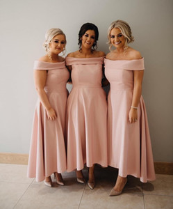 Cheap Ankle Length Bridesmaid Dress Pink Summer Country Garden Formal Wedding Party Guest Maid of Honor Gown Plus Size Custom Made