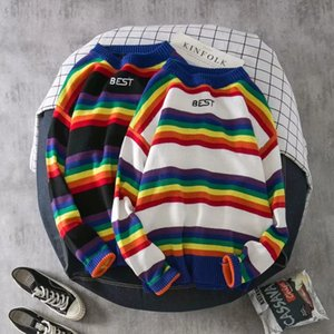 Men's & Women's Sweater Fashion Mens Rainbow Striped Hoodies Casual Couple Loose Crew Neck Sweatshirt 2 Colors Size M-2XL