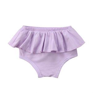 2019 Newborn Baby Girl Ruffle Bottom Panites Mini Skirts Solid Infant Kids Bloomer Diaper Cover Briefs Baby Clothing Short Pants