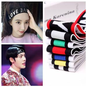 Letra headband para mulheres homens outono inverno cabeça banda esporte headwear elasticidade turbante tricô faixa de cabelo 52 cores