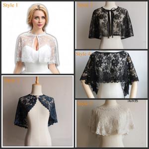 Parti Elbise Beyaz / Fildişi / Siyah / Burgonya / Donanma için Kadınlar Biçimsel Bolero silkiyor için Gelin Düğün Dantel sarar ceketler Cloak Akşam Cape Şal