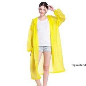 EVA Raincoats Non-disposable Thickened Solid Raincoat E-Friendly Waterproof Raincoat Outdoor Travel Long Rainwear party favor LJJA3831