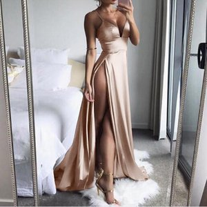 Telotuny High-Split Dresses Deep-V backless women dress dresses party night club dress robe femme ete 2018 AG 06