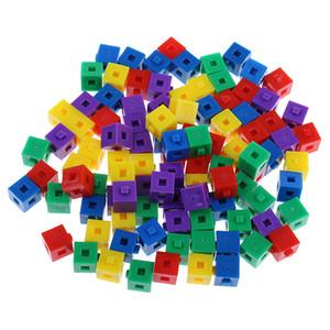200x Çocuklar İnşaat Toys 1cm Yapı Bulmacalar İstifleme Bağlama Küpler Oyuncak