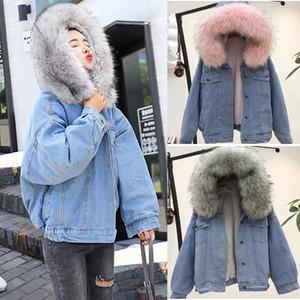 Whoohoo Donne Warm denim Jean breve rivestimento del cappotto colletto in pelliccia sintetica rivestimento sottile inverno incappucciato Outwear cappotti inverno caldo cappotto Denim