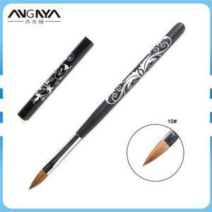 Toptan Kolinsky Akrilik Nail Art Fırça No. 2/10 UV Jel Oyma Kalem Fırça Çiçek Baskı Tasarım Sıvı Toz DIY Tırnak Çizim