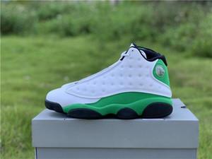 2020 Otantik 13 Şanslı Yeşil Adam Basketbol Ayakkabı Beyaz Siyah 3M Yansıtıcı 13S DB6537-113 Gerçek Karbon Elyaf Sneakers ile Kutusu