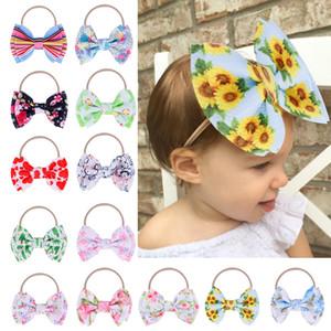 Bebê Headband Girassol Floral Hairband Imprimir Big Bow Turban Meninas Nylon Elastic hairbands Criança de flor Headwrap Faixa de Cabelo Acessórios M1922