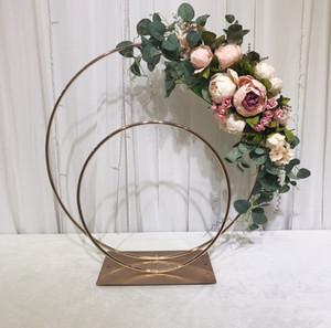 fiore Wedding supporto del basamento del ferro vaso di metallo centri tavola di fiori Tabella di cerimonia nuziale arco con doppi anelli centrotavola