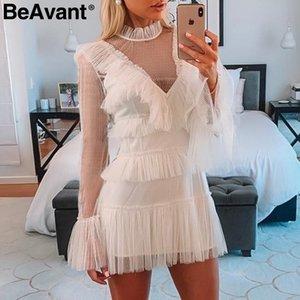 Beavant malha vintage polka dot branco dress mulheres ruffle manga longa vestidos de verão senhoras elegantes vestidos de festa curto vestidos y19073001