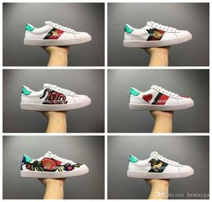 luxurys designers shoes Erkek tasarımcı ayakkabı Rahat Ayakkabılar beyaz kadın sneakers iyi nakış arı tarafında horoz kaplan köpek meyve 36-45