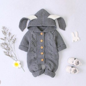 Baby Rompers Knitted Cartoon Rabit Baby Rompers Knitted Long Sleeve Knit Newborn Bebes Boys Girls Jumpsuits