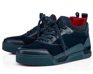 2019 famoso designer Homens sapatos de casamento Red inferior Sneakers Homens sapatos formadores Aurelien Plano Sneakers Low- camurça ao ar livre Caminhando Sneaker L14