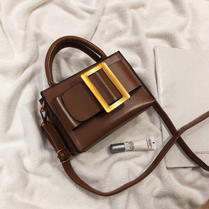 Designer- Kleine Umhängetaschen mit Gürtelschnalle Dekoration Vintage-Leder-Handtaschen und Geldbeutel Weiblichen Schulter-Kurier-Handtasche