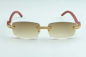 20 Novo Luxo De Madeira Amarelo Diamante Grande Vidoeiro Templo 3524012-C7 Óculos de sol, óculos de sol naturais 56-18-135mm Tamanho: Khras