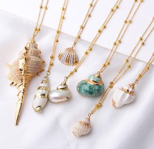DHL Boho Shell Necklace Conch Seashell Necklace Pendant For Women Femme Shell Snail Summer Jewelry Event & Party Supplies