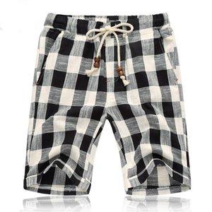 Mens-Sommer-neue Shorts Art und Weise beiläufige Plaid kurze Hosen Baumwollgerade lose Beach Clothing Plus Size
