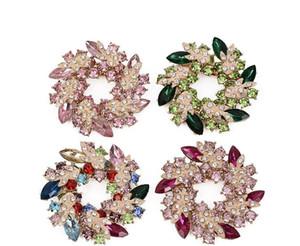 Горячий стиль высококачественный кольцо венок корсаж личность набор Алмаз pin bauhinia цветок брошь оптом
