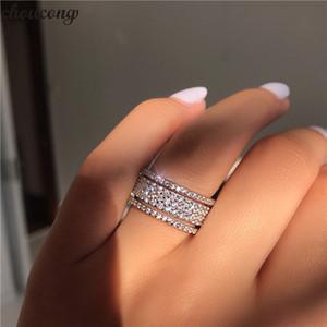 Vecalon Starlight Promise Ring 925 plata esterlina cinco deslumbrantes capas Diamond cz Anillo de compromiso de boda anillos para mujeres hombres