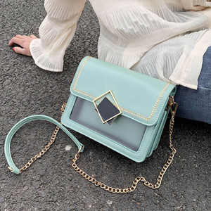 AXUKES Chain Transparent PU Leather Crossbody Bags For Women 2020 Summer Small Shoulder Bag Lady Summer Fashion Travel Handbags