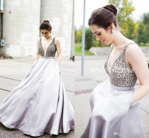 2019 Elegant Evening Formal Dresses V Neck Pockets Crystal Beaded Long Red Carpet Wear Special Occasion Dress Prom Party Gowns
