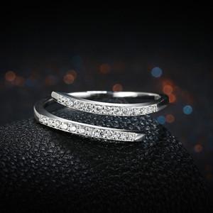 Anelli in argento sterling a due file di zirconi apertura placcato argento anello a fascia S925 argento moda elegante regolabile gioielli regali POTALA093