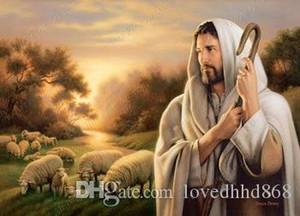 Enmarcado Simon Dewey Señor es mi pastor, pintado a mano de alta calidad religiosa al óleo del arte en la lona de arte de la decoración de varios tamaños Js006