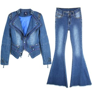 2020 Women Two Piece Denim Suit Women's Slimming Waist Zipper Short Rivet Shoulder Pads Denim Jacket & Stretch Big Flared Jeans 2pcs Sets